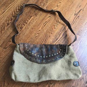 Boho distressed leather crossbody bag